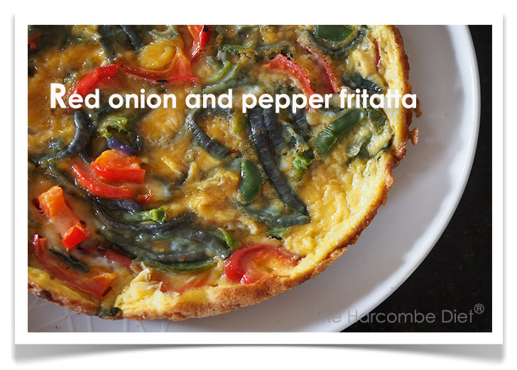 Red onion and pepper fritatta
